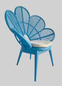 blue rattan flower chair