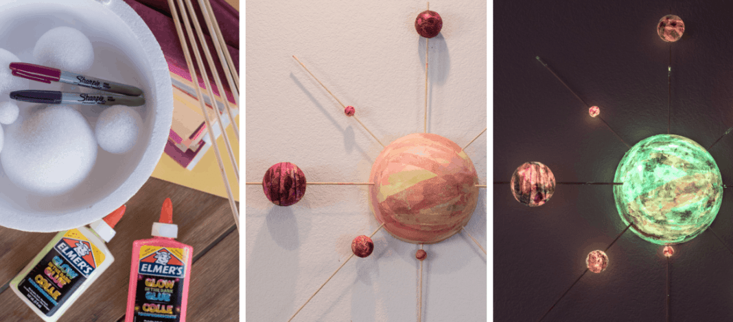 Glow in the dark solar system STEM craft model