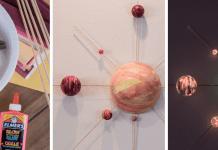 Glow in the dark solar system STEM craft model