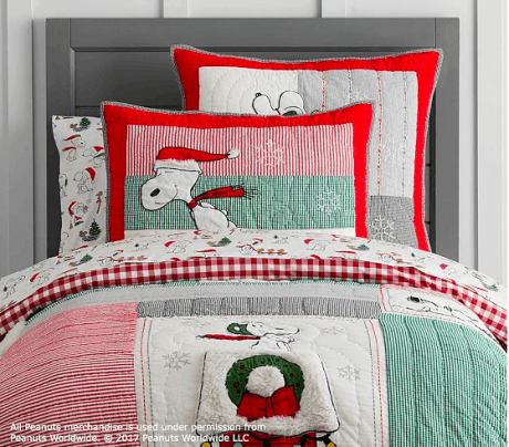 Holiday Peanuts Pottery Barn Kids Bedding