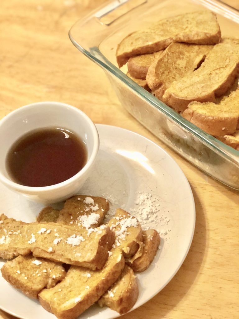 Pumpkin spice french toast sticks make for the perfect family friendly breakfast option this fall! They are even toddler approved! #pumpkinspice #pumpkinspicemeal #pumpkinspicebreakfast #pumpkinspicefrenchtoast