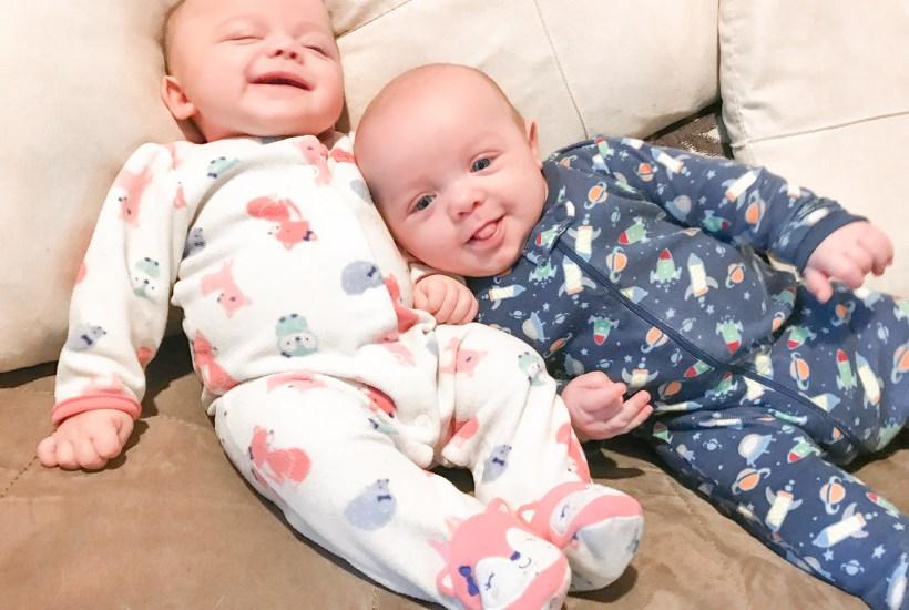 newborn twins and coffee