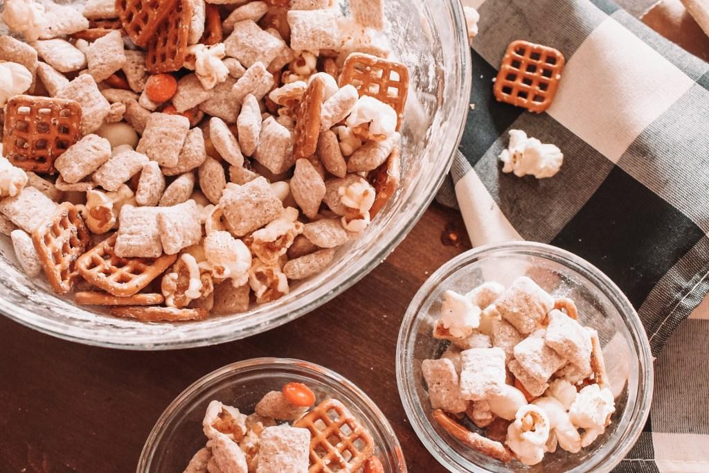 fall snack mix with pumpkin spice muddy buddies