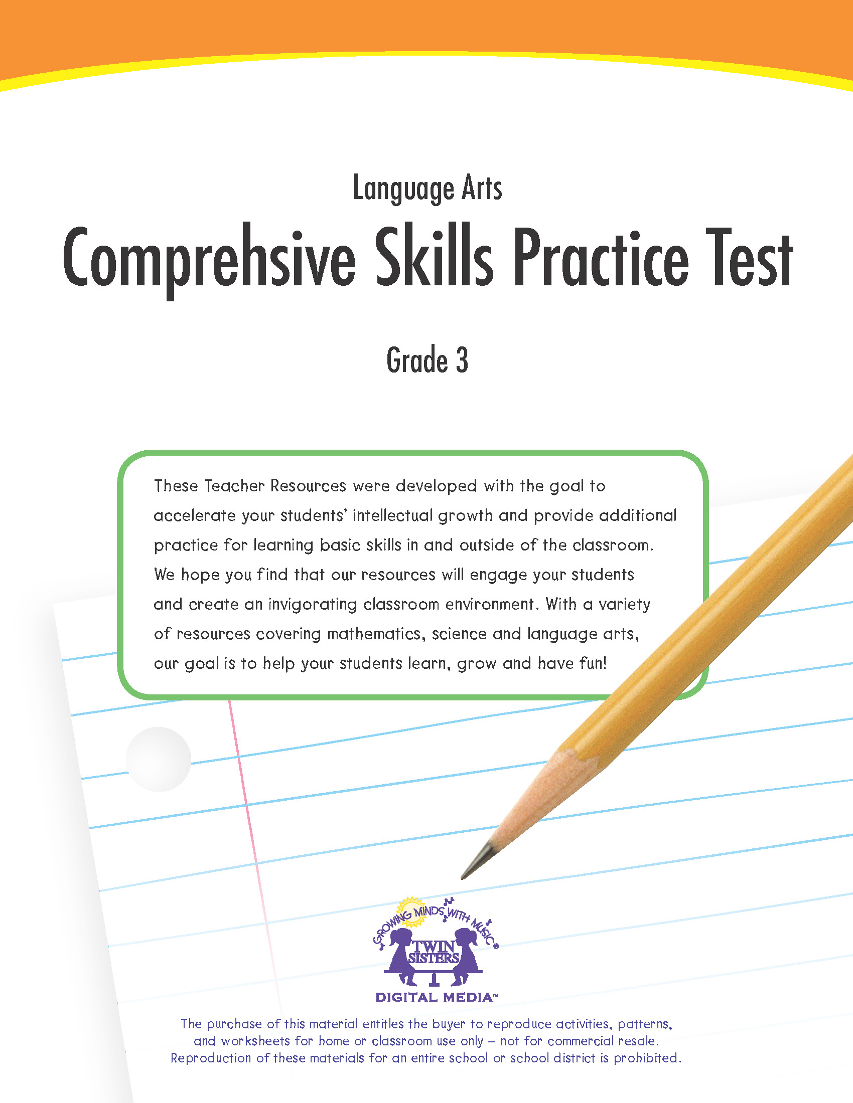 hight resolution of Language Arts Grade 3: Comprehensive Skills Practice Test   Twin Sisters