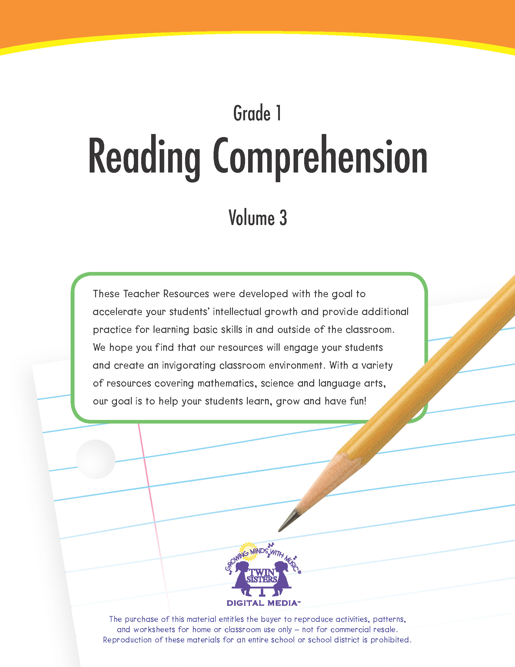 Grade 1 Reading Comprehension Volume 3