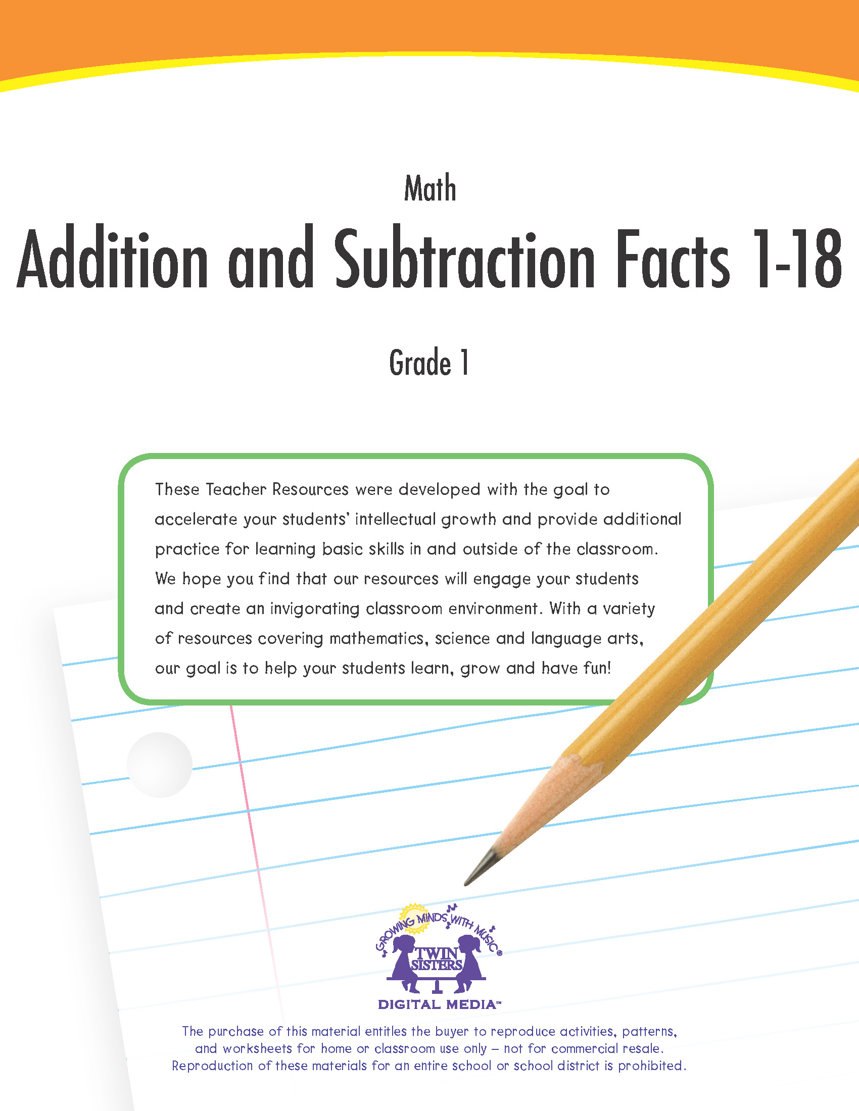 Math Grade 1 Addition And Subtraction Facts 1 18