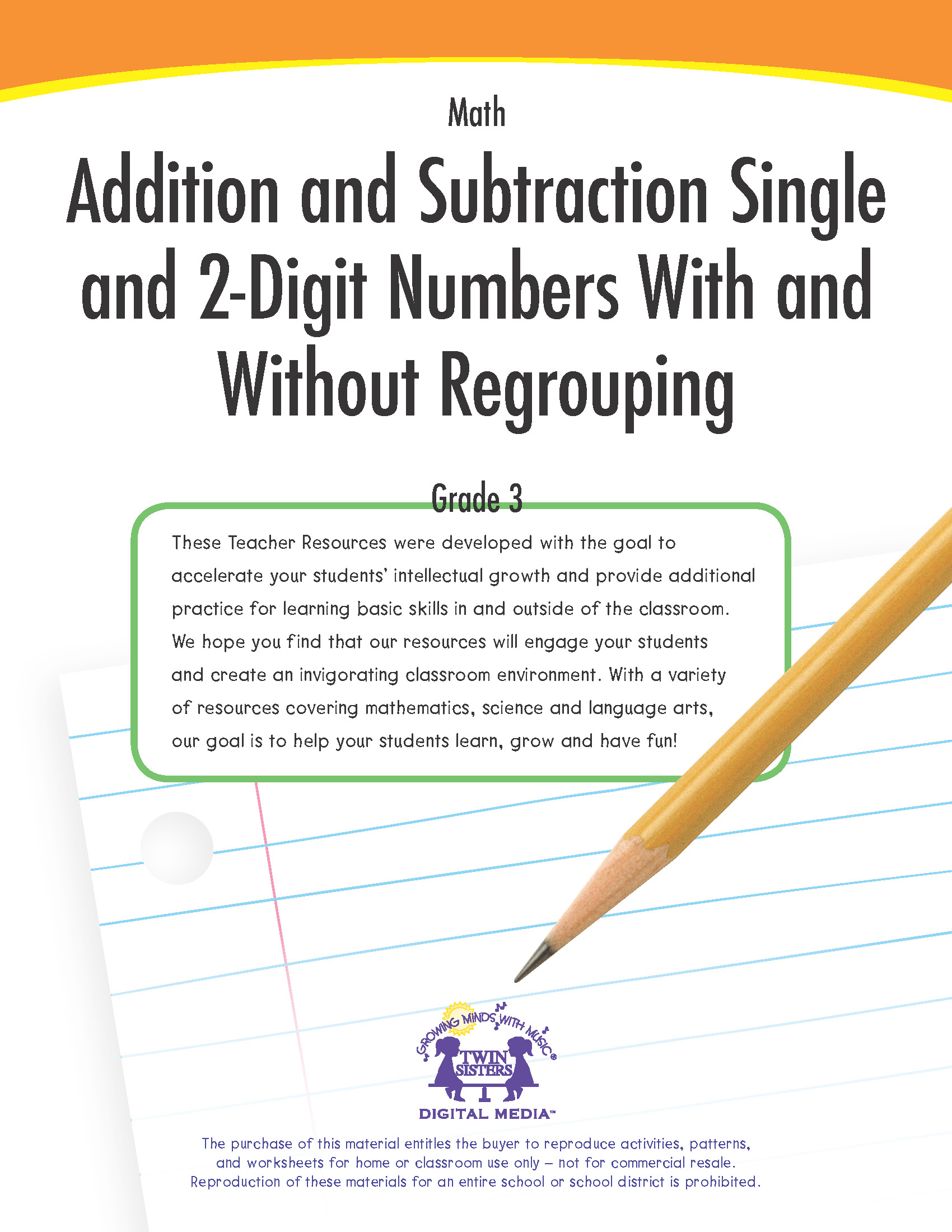 Math Grade 3 Addition And Subtraction Single And 2 Digit