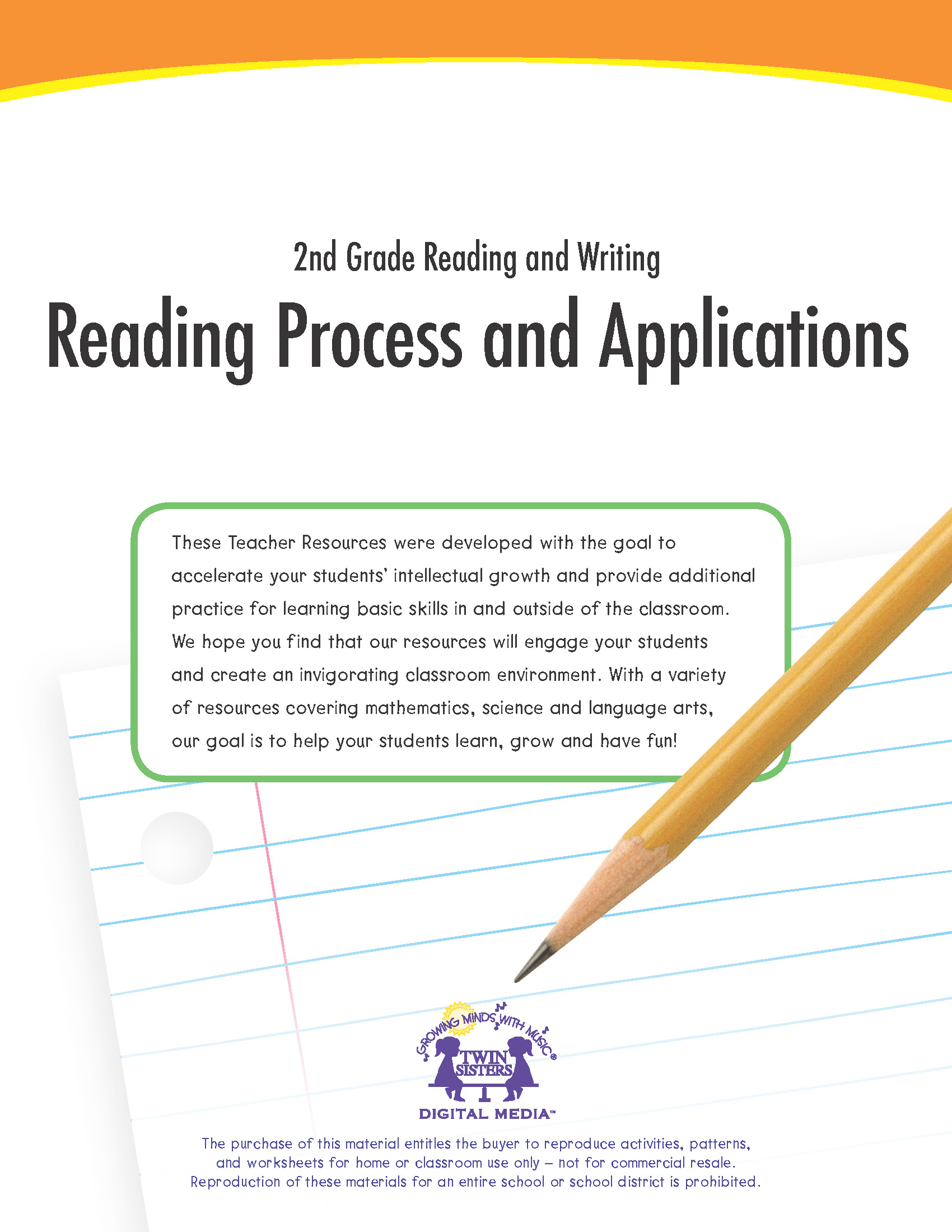 hight resolution of 2nd Grade Reading and Writing: Reading Process and Applications   Twin  Sisters