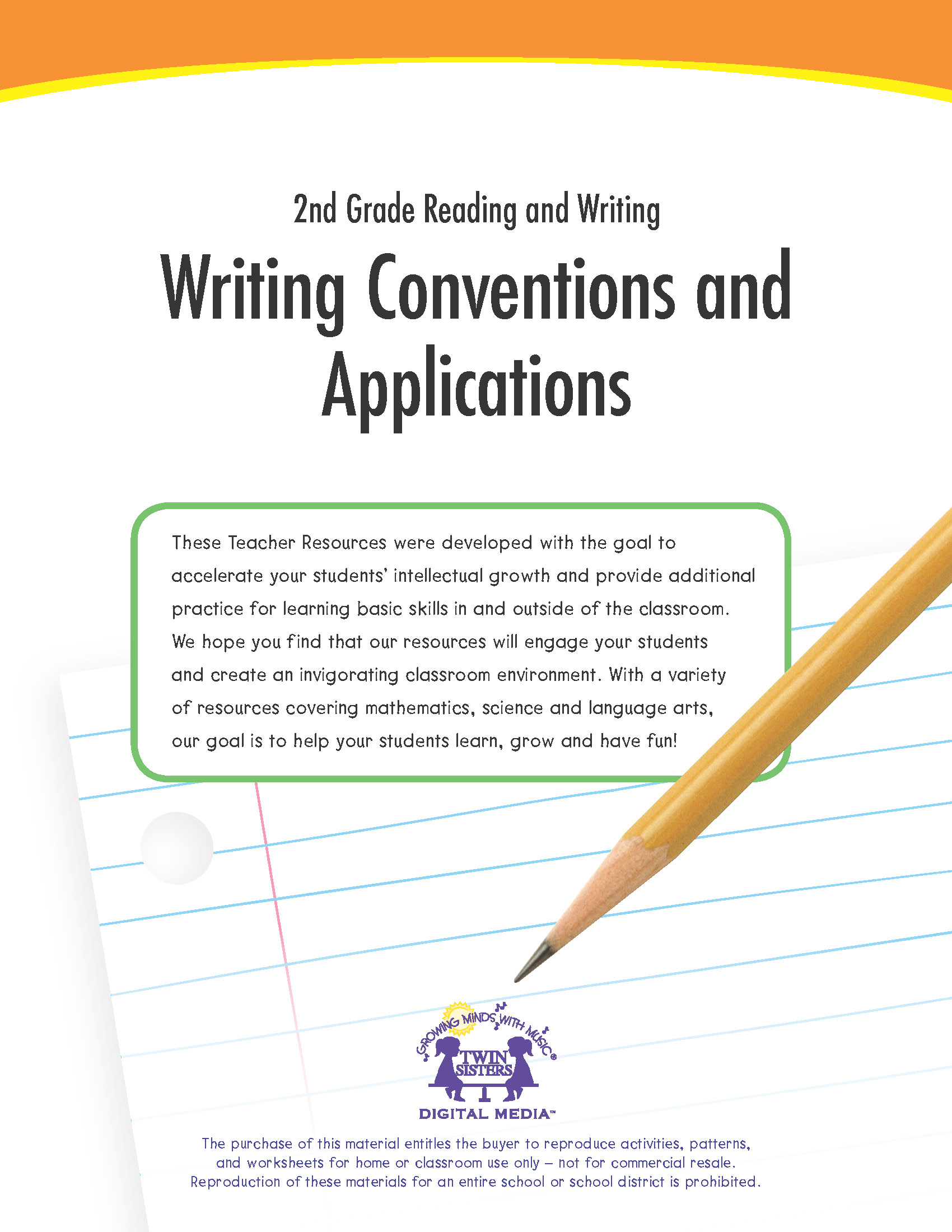 hight resolution of 2nd Grade Reading and Writing: Writing Conventions and Applications   Twin  Sisters
