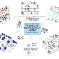 Winter Themed 3 & 4 Syllable Verbal Expression or Word Reading Game