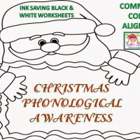 Christmas Phonological Awareness B&W Worksheets + FREE Fun sheets!