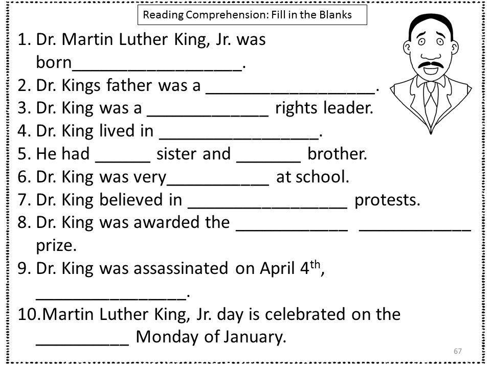 Dr Martin Luther King Worksheet Worksheets for all | Download and ...