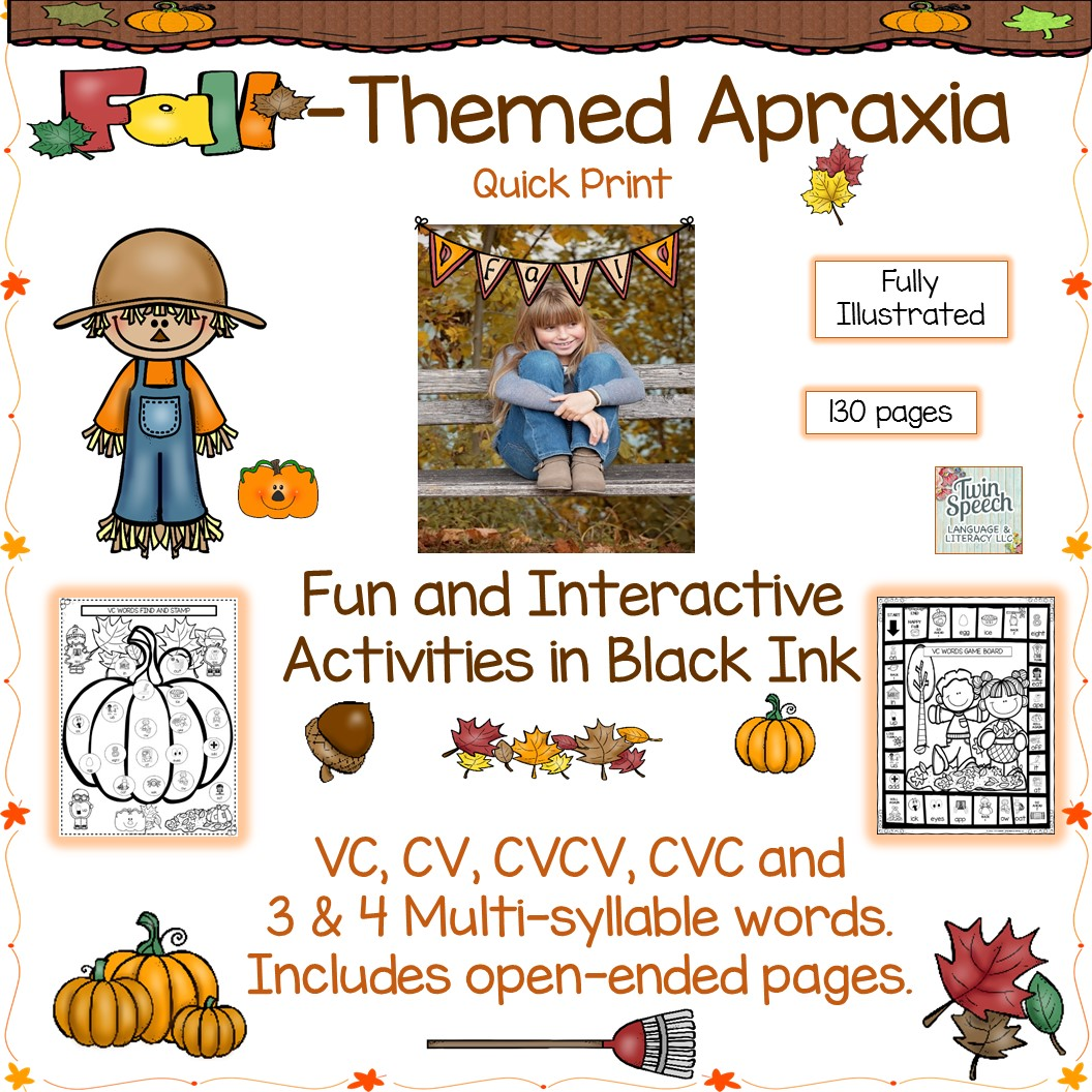 Fall Themed Apraxia Document Targeting Vc Cv Cvcv Cvc