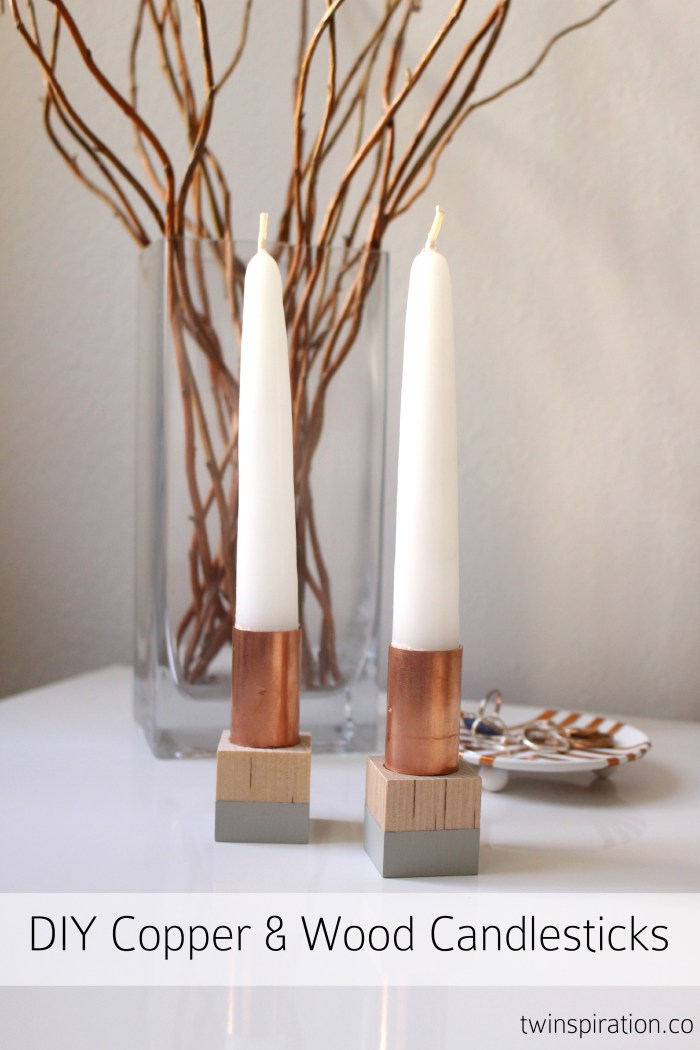 DIY Copper & Wood Block Candlesticks by Twinspiration at http://twinspiration.co/diy-copper-candlesticks/