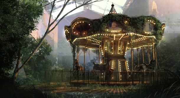 A haunting image of the abandoned carousel...