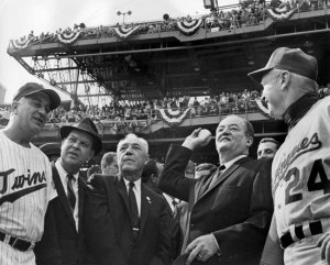 Calvin Griffith (second from left) at the opening of the 1965 World Series - courtesty of Seamheads.com