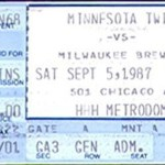 1987 Twins ticket. Click on the ticket to see the full image.