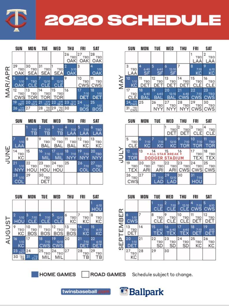 Schedule A 2020.Twins Announce Their 2020 Schedule Twinstrivia Com