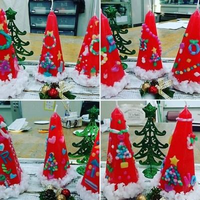 川越市社会福祉センターオアシス キャンドル講座第2回目作品クリスマスツリーキャンドル