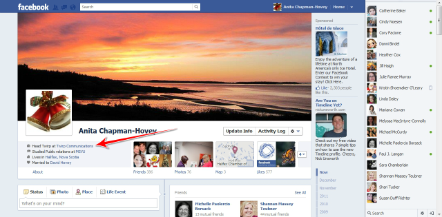 Where to change your employment info in new Facebook Timeline