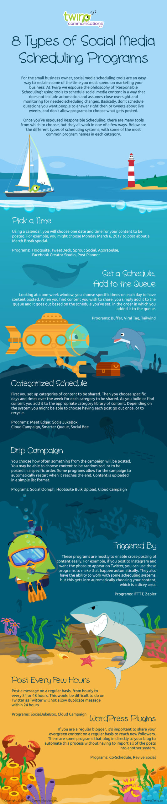 social media scheduler descriptions in infographic