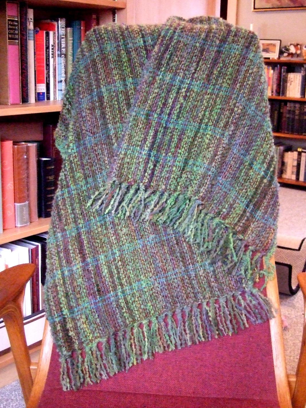 My own handpaint wool boucle, brown alpaca weft