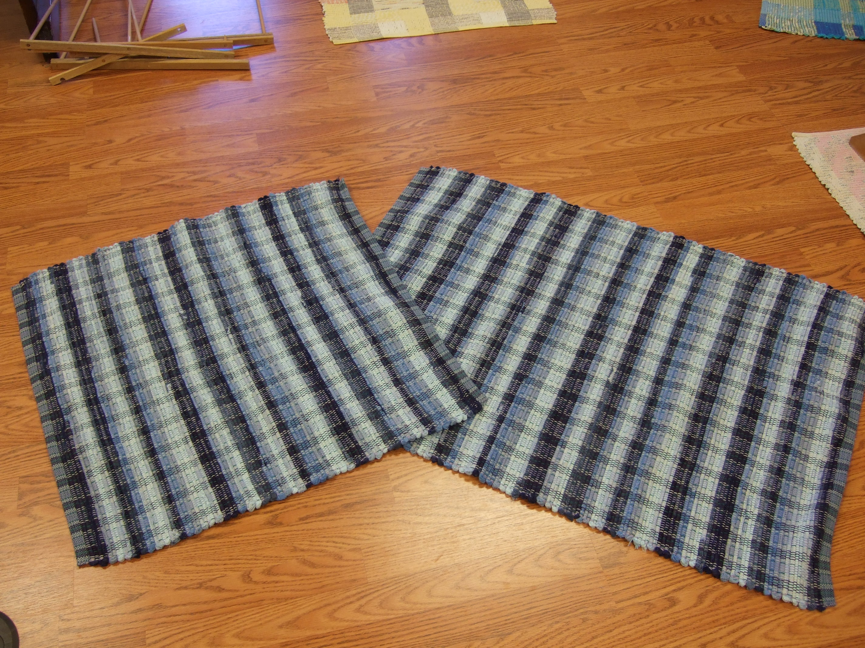 "9 shades of blue cotton corduroy, 28"" x 27"" and 28"" x 38"""