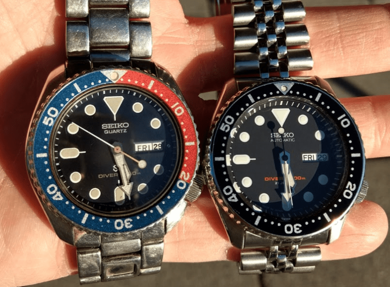 Seiko's quartz diver's watch from the 1980s next to a current SKX007.