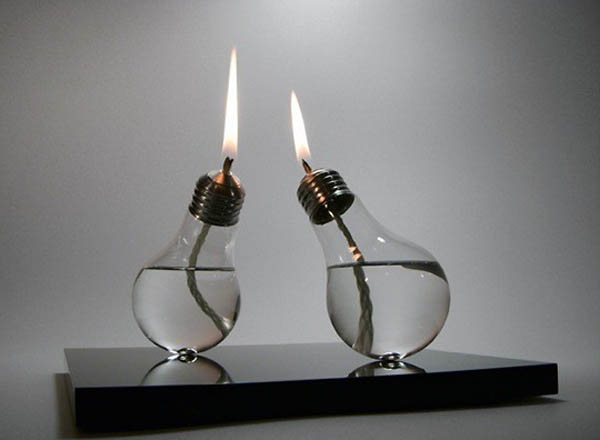 upcycle lightbulbs into candles