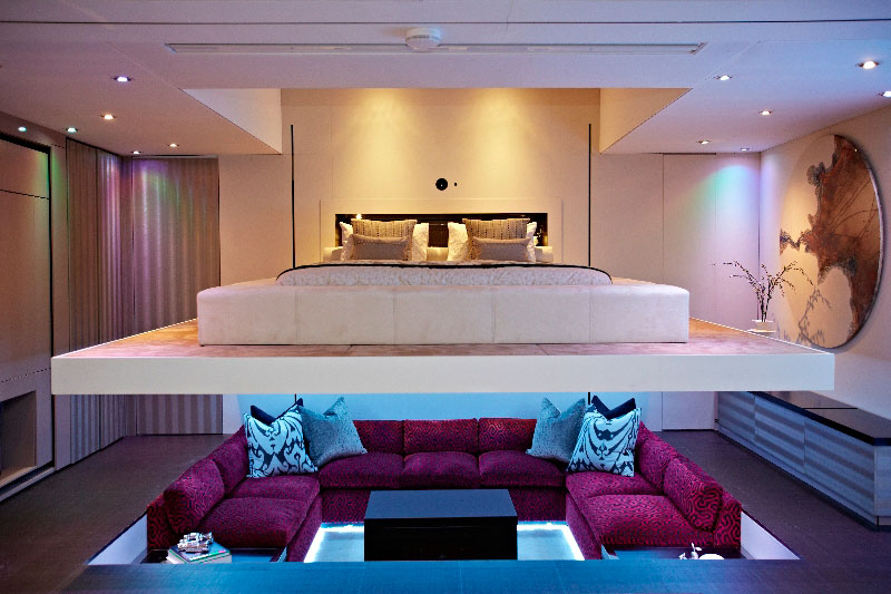 hiding tv in living room nice decorating ideas 'elevator bed' rises to reveal sunken ...