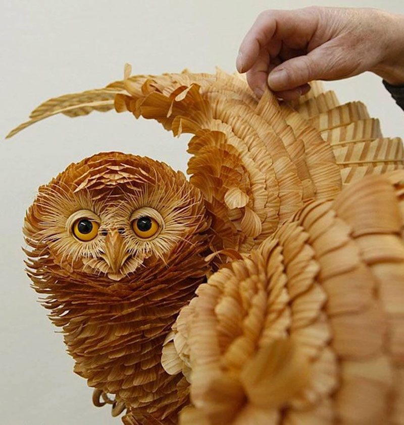 Intricate Animal Sculptures Wood Chips