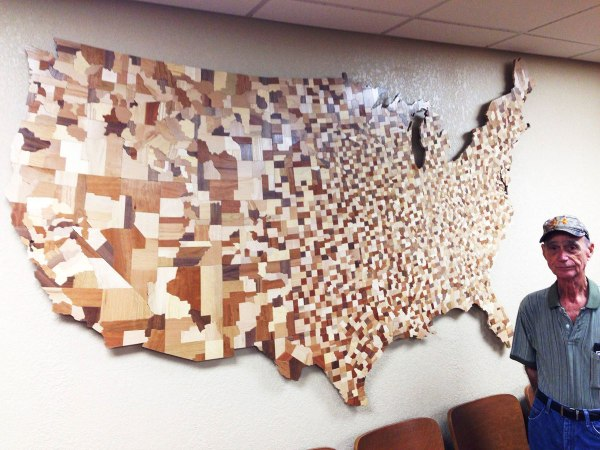 Incredible USA Counties Map Made from Over 3000 Carved