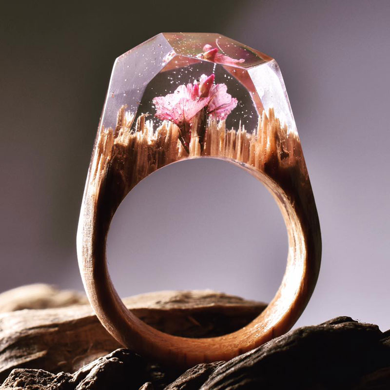 Stunning Miniature Landscapes Inside Rings of Wood and Resin TwistedSifter