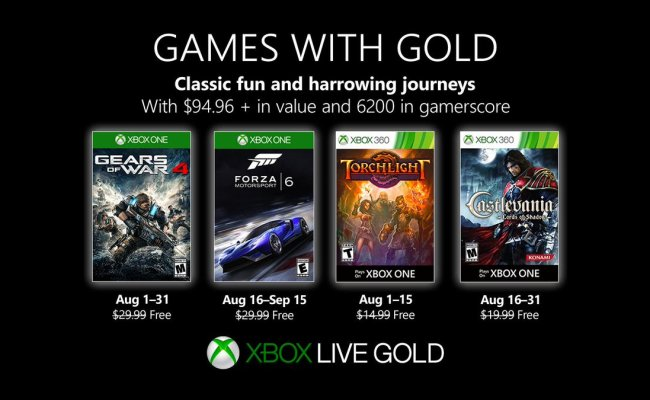 Games With Gold August 2019 Lineup Revealed By Microsoft