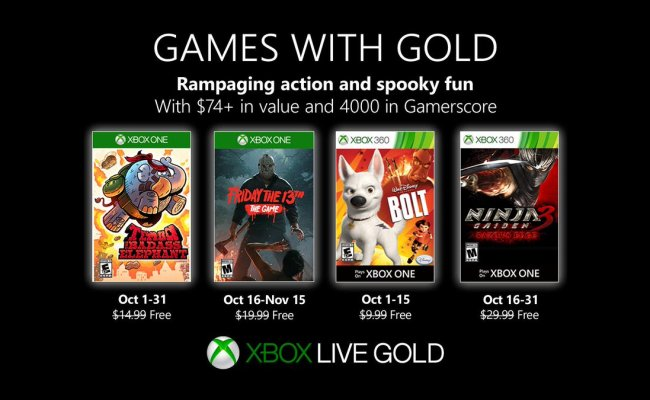 Games With Gold October 2019 Lineup Revealed For Xbox Live