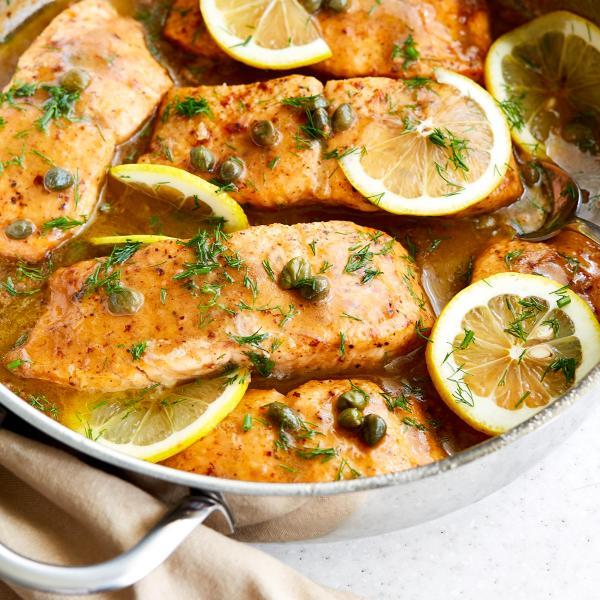 Lemon Piccata Steamed Salmon/Haddock (GF)