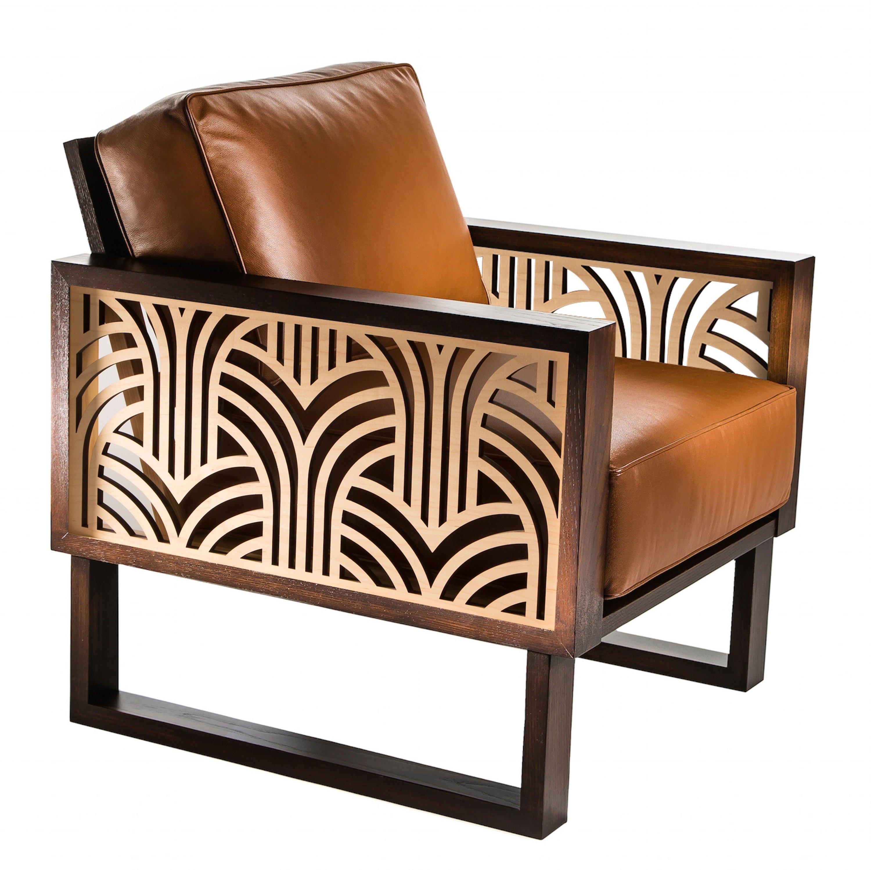 Art Deco Leather Lounge Chair  Twist Modern