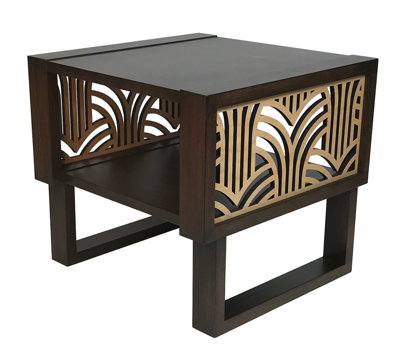 art deco side table espresso natural