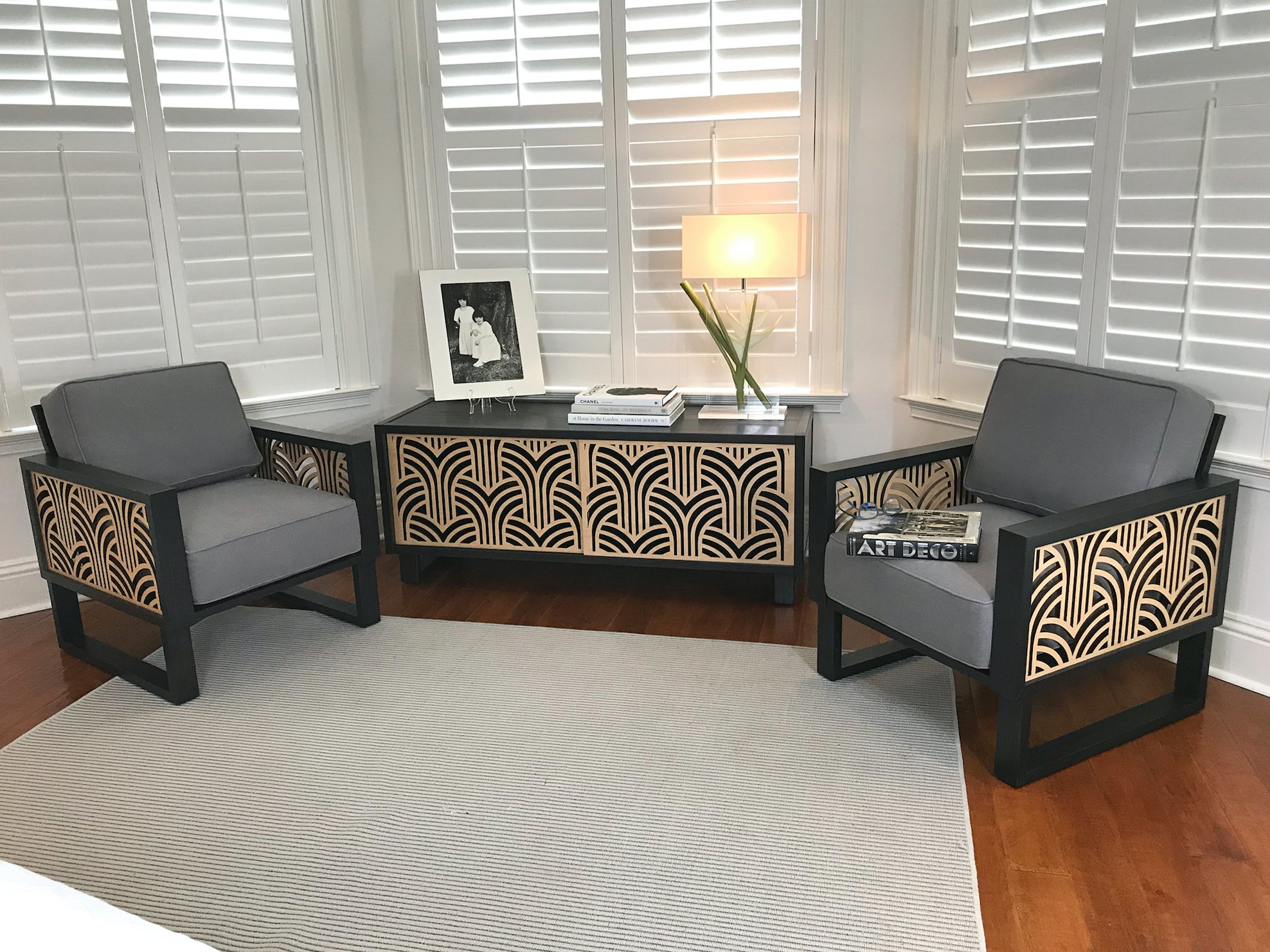 An Art Deco Lounge Chair Gray  Twist Modern