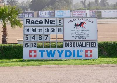 The finish board, changed by hand after every race.