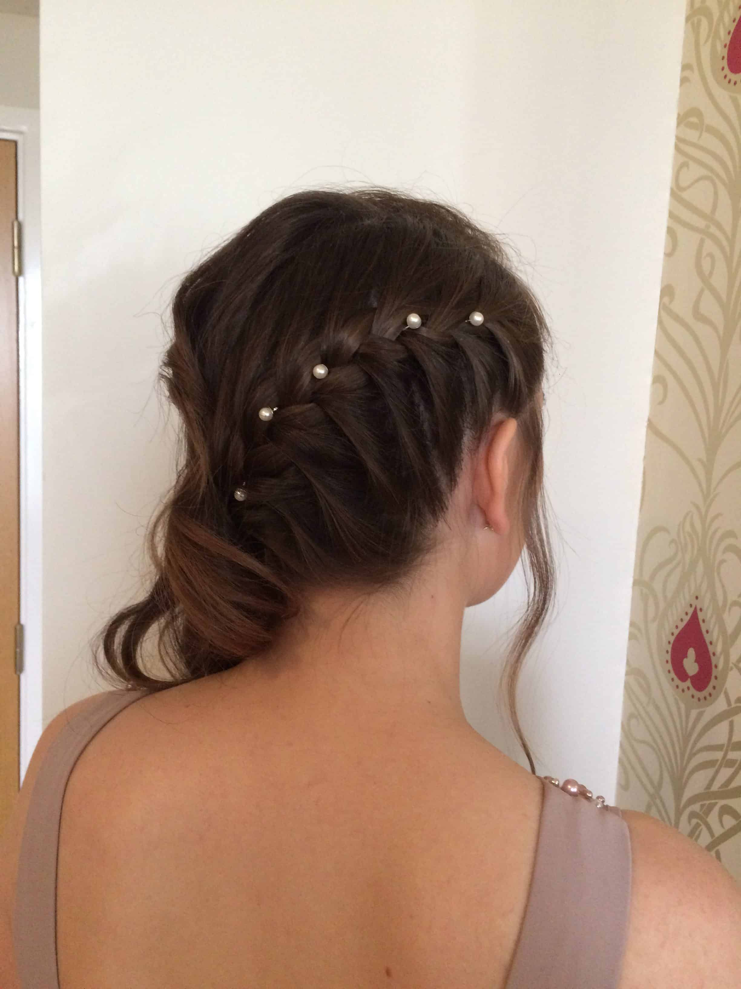 Pearl pinned side plait
