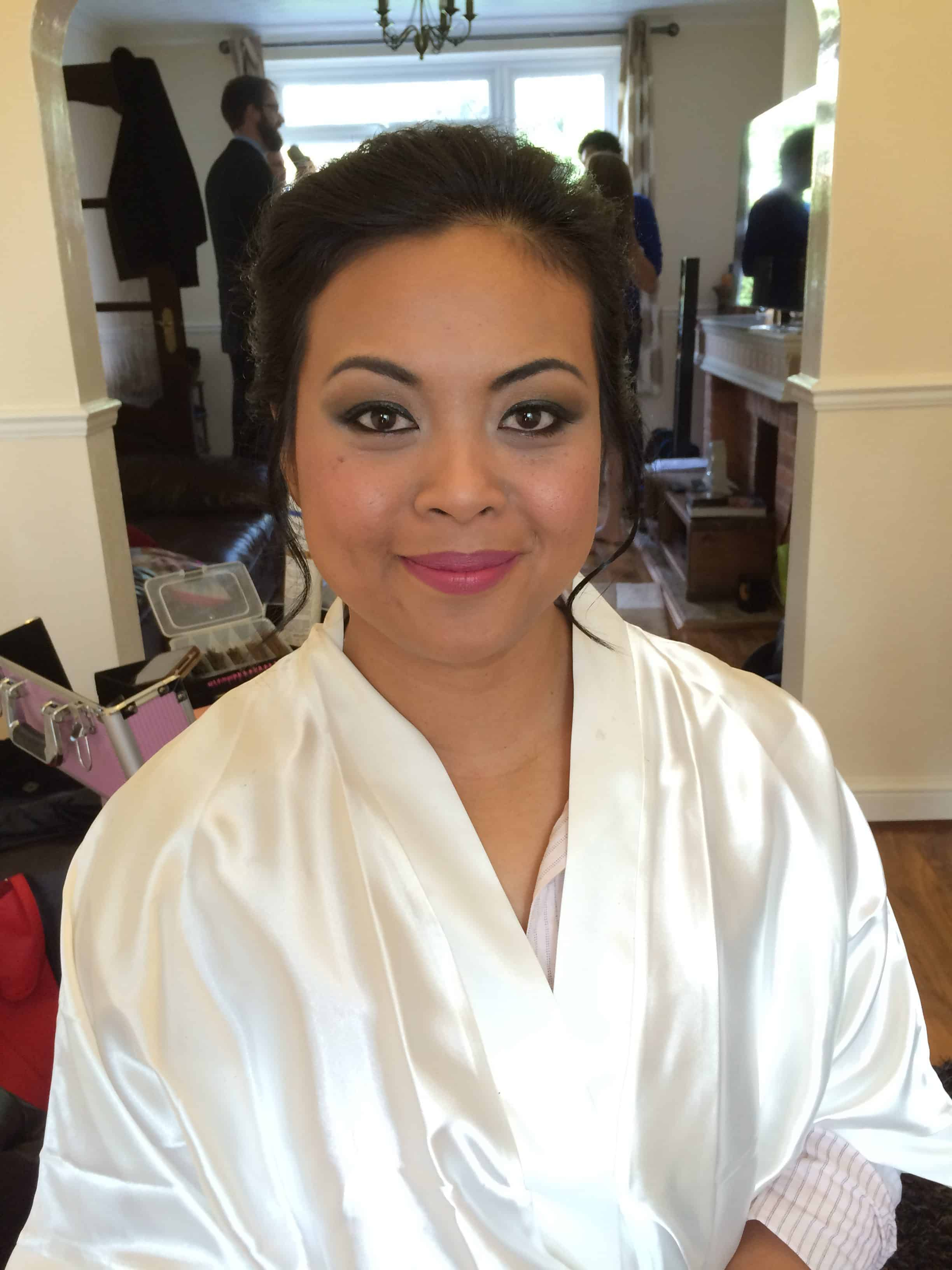 Beautiful natural makeup on a bride