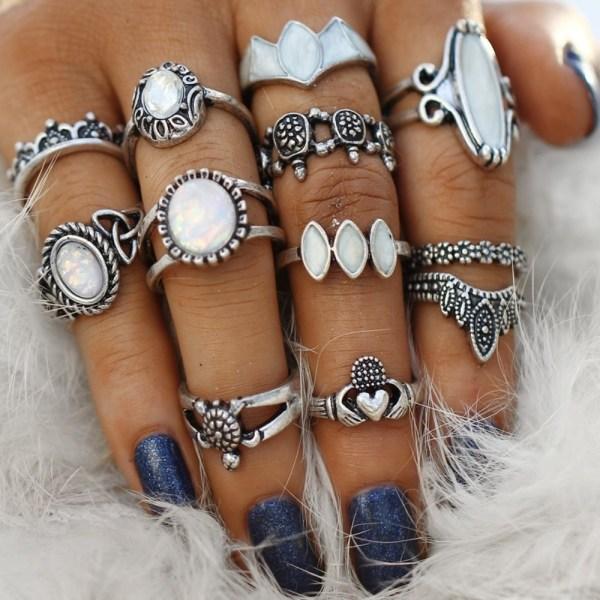 Vintage Boho Rings Set