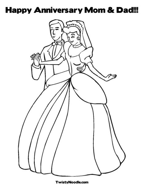Happy Anniversary Cards Coloring Page Coloring Pages