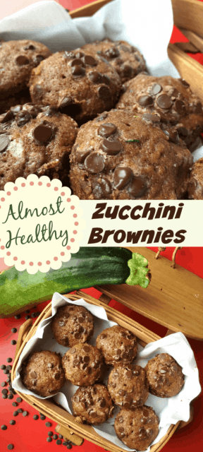 Almost healthy zucchini brownies.  Chocolate chips!  Used a mini muffin pan.