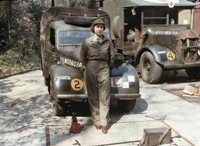Eighteen-year-old Princess Elizabeth Of England During Her Time In The Auxiliary Territorial Service During WWII Where She Drove And Repaired Heavy Vehicles, 1945