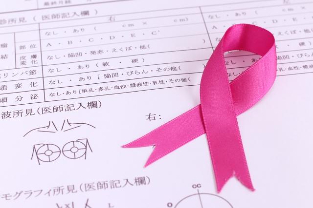 乳がん検診 ピンクリボンと問診票の画像