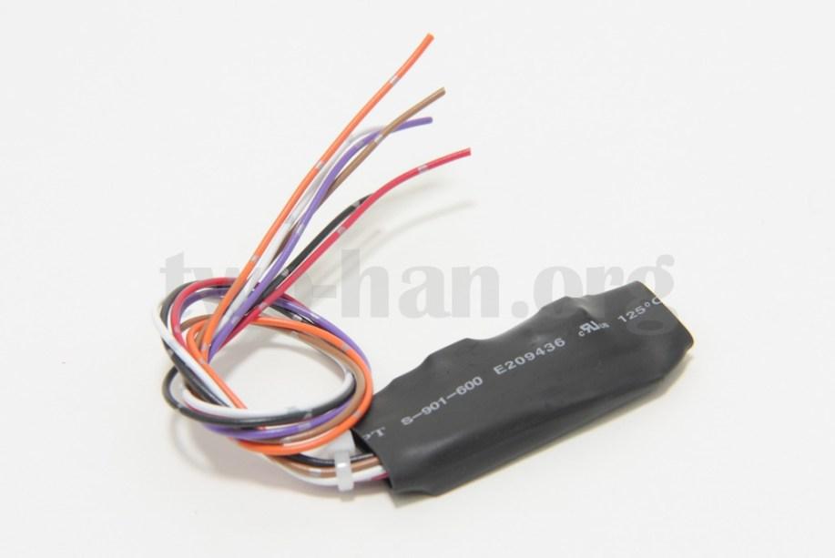 キーレス連動アンサーバックサイレン装置 標準版(TANS-02)、回路を組み込んだ基盤を熱収縮チューブでパッケージングした必要最低限の商品だけど、これで十分!