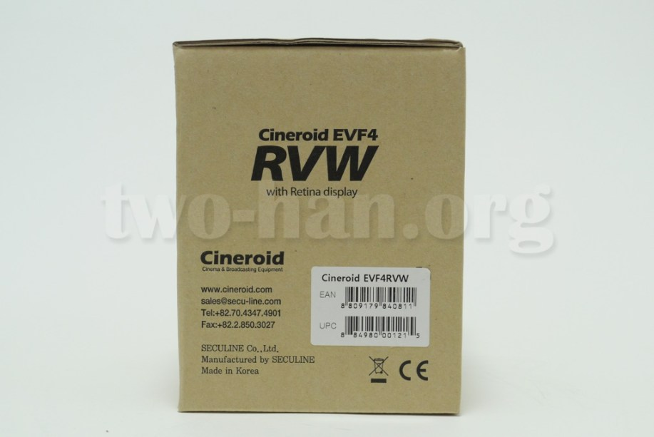 CineroidのEVF4RVWの外箱・横2!