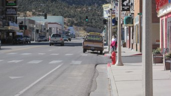 Cruisin' the main drag on our bikes, Ely, NV.